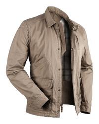 hellbeige Jacke mit einer Kentkragen und Knöpfen von Blaser