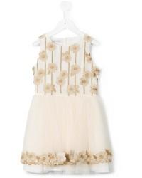 hellbeige Kleid mit Blumenmuster