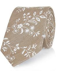 hellbeige Krawatte mit Blumenmuster