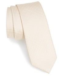 hellbeige Krawatte mit Karomuster