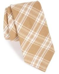 hellbeige Krawatte mit Schottenmuster