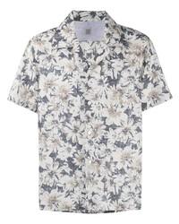 hellbeige Kurzarmhemd mit Blumenmuster von Eleventy