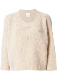 hellbeige kurzer Pullover