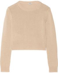 hellbeige kurzer Pullover von Miu Miu