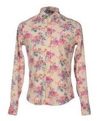 hellbeige Langarmhemd mit Blumenmuster