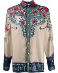 hellbeige Langarmhemd mit Blumenmuster von Versace Collection