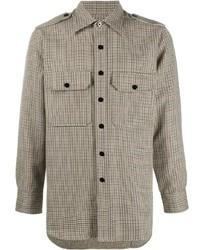 hellbeige Langarmhemd mit Hahnentritt-Muster