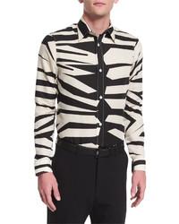 hellbeige Langarmhemd mit Leopardenmuster