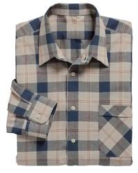 hellbeige Langarmhemd mit Schottenmuster von Classic