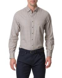 hellbeige Langarmhemd mit Vichy-Muster