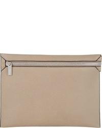 hellbeige Leder Clutch Handtasche