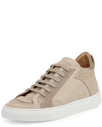 hellbeige Leder niedrige Sneakers