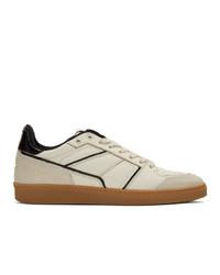 hellbeige Leder niedrige Sneakers von AMI Alexandre Mattiussi