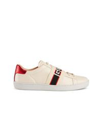 hellbeige Leder niedrige Sneakers von Gucci