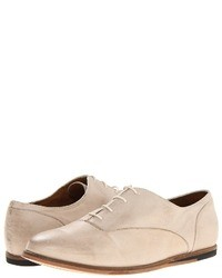 hellbeige Leder Oxford Schuhe