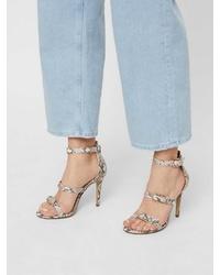 hellbeige Leder Sandaletten mit Schlangenmuster von Bianco