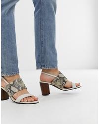 hellbeige Leder Sandaletten mit Schlangenmuster von Vagabond