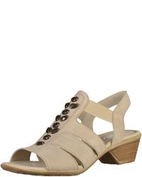 hellbeige Leder Sandaletten von Gabor