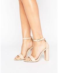hellbeige Leder Sandaletten von Glamorous