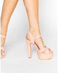 hellbeige Leder Sandaletten von Miss KG