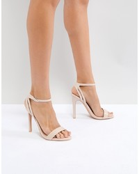 hellbeige Leder Sandaletten von Public Desire