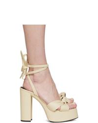 hellbeige Leder Sandaletten von Saint Laurent