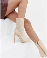 hellbeige Leder Stiefeletten von SIMMI Shoes