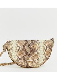 hellbeige Leder Umhängetasche mit Schlangenmuster von Glamorous