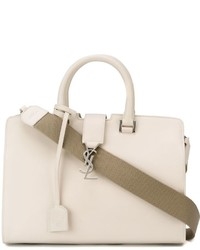 hellbeige Lederhandtasche von Saint Laurent