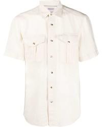 hellbeige Leinen Kurzarmhemd von Brunello Cucinelli