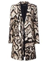 hellbeige Mantel mit Leopardenmuster