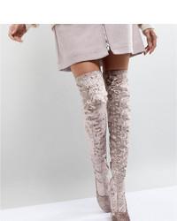 hellbeige Overknee Stiefel aus Wildleder von ASOS DESIGN