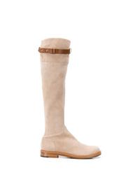 hellbeige Overknee Stiefel aus Wildleder von Ermanno Scervino