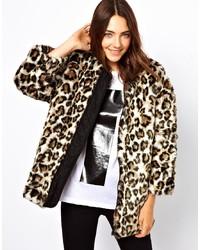 hellbeige Pelzjacke mit Leopardenmuster von B+ab