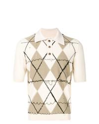 hellbeige Polohemd mit Argyle-Muster von Maison Margiela