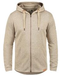hellbeige Pullover mit einem Kapuze von Solid