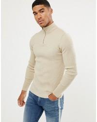 hellbeige Pullover mit einem Reißverschluss am Kragen von ASOS DESIGN