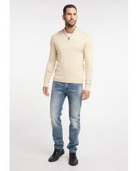 hellbeige Pullover mit einem Reißverschluss am Kragen von Dreimaster