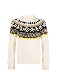 hellbeige Pullover mit einem Rundhalsausschnitt mit Fair Isle-Muster