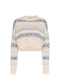 hellbeige Pullover mit einem Rundhalsausschnitt mit Norwegermuster von Miu Miu