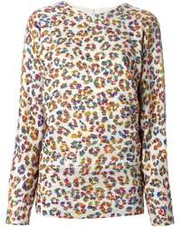 hellbeige Pullover mit einem Rundhalsausschnitt mit Leopardenmuster