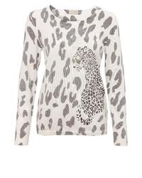 hellbeige Pullover mit einem Rundhalsausschnitt mit Leopardenmuster von VIA APPIA