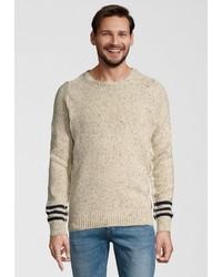 hellbeige Pullover mit einem Rundhalsausschnitt von Dstrezzed