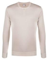 hellbeige Pullover mit einem Rundhalsausschnitt von Eleventy