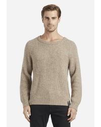 hellbeige Pullover mit einem Rundhalsausschnitt von khujo