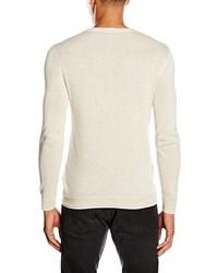 hellbeige Pullover mit einem Rundhalsausschnitt von Lee