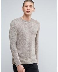 hellbeige Pullover mit einem Rundhalsausschnitt von Minimum
