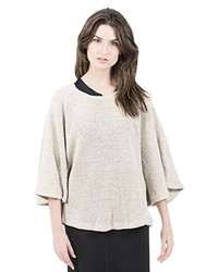hellbeige Pullover mit einem Rundhalsausschnitt von Miu Sutin