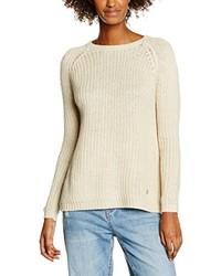 hellbeige Pullover mit einem Rundhalsausschnitt von Only