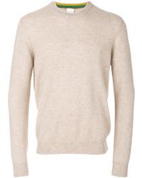 hellbeige Pullover mit einem Rundhalsausschnitt von Paul Smith